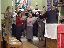 Grace Church choir practicing before a special service